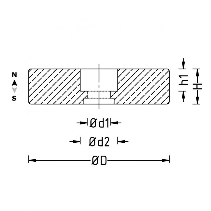 Sistema magnetico gommato con foro svasato d 22 mm a 6 for Sistema anticalcare magnetico